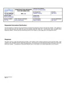 Rfi Forms Template by Sle Construction Request For Information Free