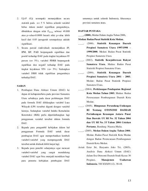 penulisan daftar pustaka badan pusat statistik analisis faktor faktor yang menjelaskan dana alokasi