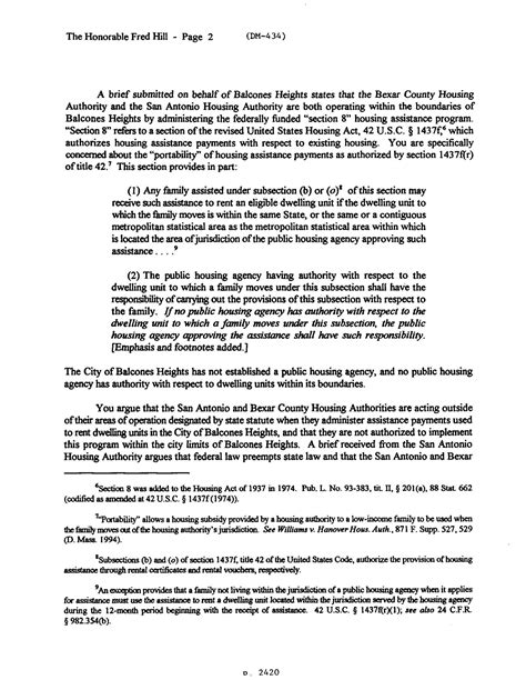bexar county housing authority section 8 texas attorney general opinion dm 434 page 2 of 4 the