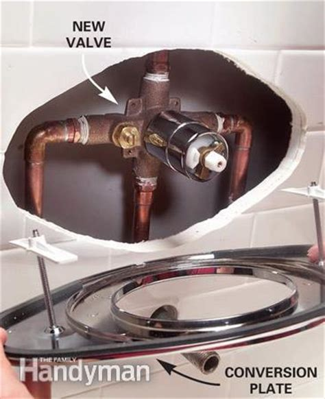 How To Install Bathroom Shower Faucet How To Replace A Two Handle Shower Valve With A Single Handle Unit The Family Handyman