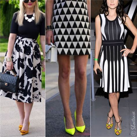 what colour goes with black and white black and white dress with yellow shoes images