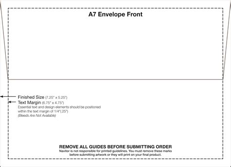 a7 envelope template a7 envelope template 5 25 x 7 25 fedex print manager