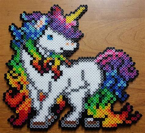 unicorn perler pattern rainbow unicorn perler by ladyraveicorn kandi photos on