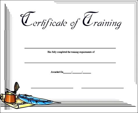 training certificate template free sle templates