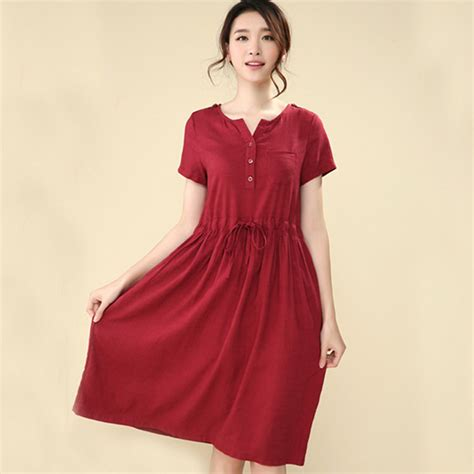 plus size country style dresses vintage linen cotton casual sleeve plus size