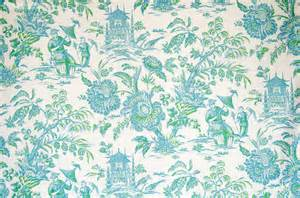 Upholstery Fabric Portland Oriental Chinoiserie Toile Fabric Pagoda Turquoise Blue