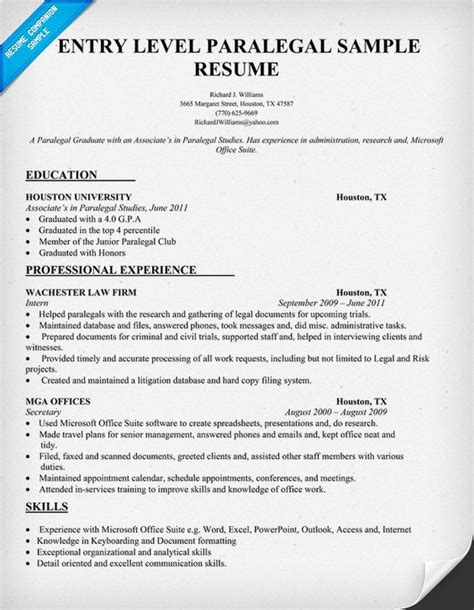 Paralegal Resumes by Entry Level Paralegal Resume Sle Resumecompanion