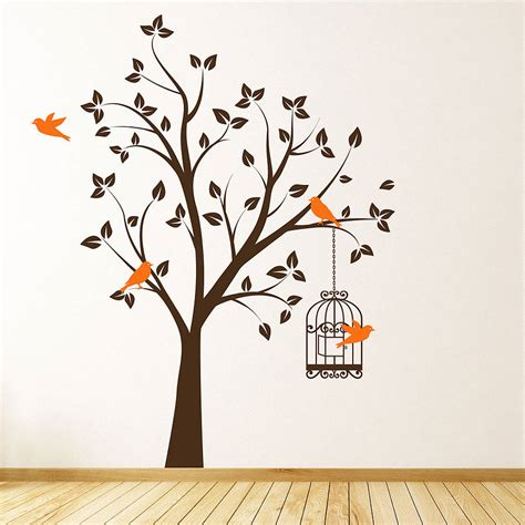 Wall Sticker tree with bird cage wall stickers by parkins interiors