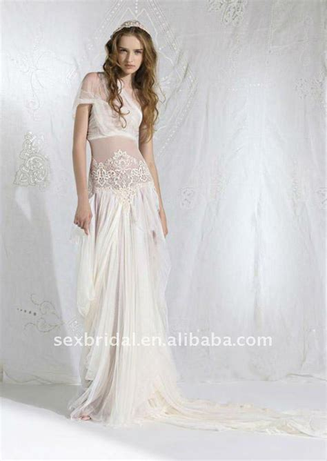 Mm 003 Dress Beautiful aliexpress buy beautiful bohemian ivory one shoulder slim lace chiffon voile floor