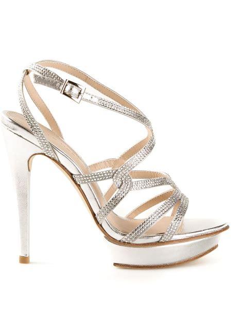 pelle moda farah rhinestone platform sandals in silver