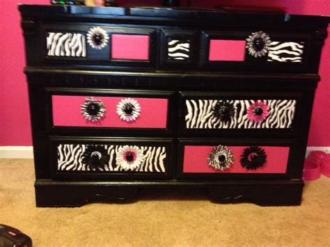 zebra and pink finished dresser zebra room