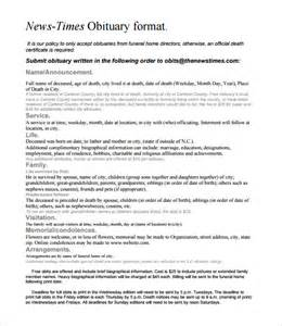 7 newspaper obituary templates free sle exle