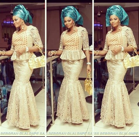 nigerian african lace styles in skirt and top gold lace top and mermaid skirt with blue gele nigerian