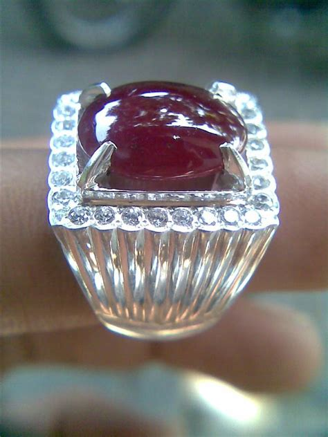 Ruby Seter Cincin Monel Heandmade cincin akik dunia akik dan permata