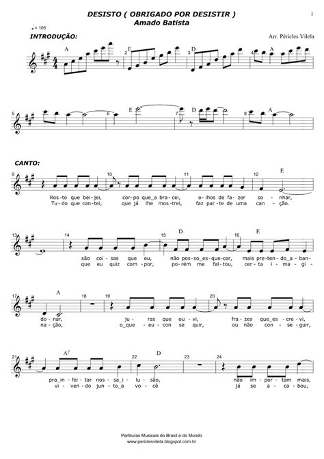 Partituras Musicais: Desisto (Obrigado por Desistir) Amado