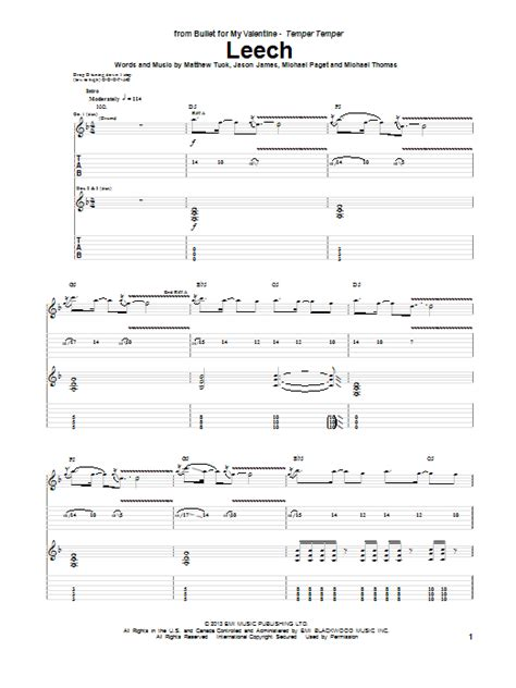 bullet for my tab leech guitar tab by bullet for my guitar tab