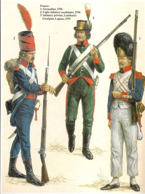 army of the light italian caign 1796 97 l to r carabiner light infantry
