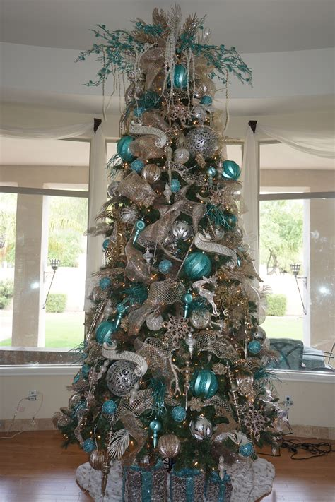 christmas trees tourquoise and silver my turquoise silver and chagne tree decorated by meyersick 2015