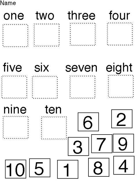 Number Words Worksheet 1 10 by Word Numbers Worksheets Kindergarten Coloring