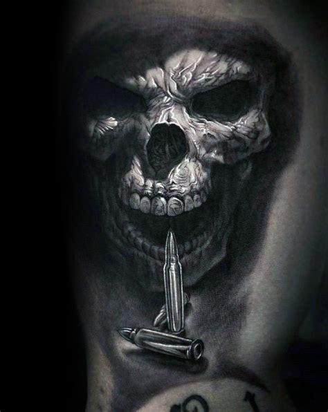 50 Unique Skull Tattoos For Men Manly Ink Design Ideas Skull With Bullet