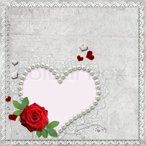 vintage elegant heart frame with rose lace and pearls