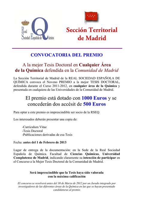 convocatorias y prestaciones premio europa de tesis premio a la mejor tesis doctoral en qu 237 mica la ciencia y