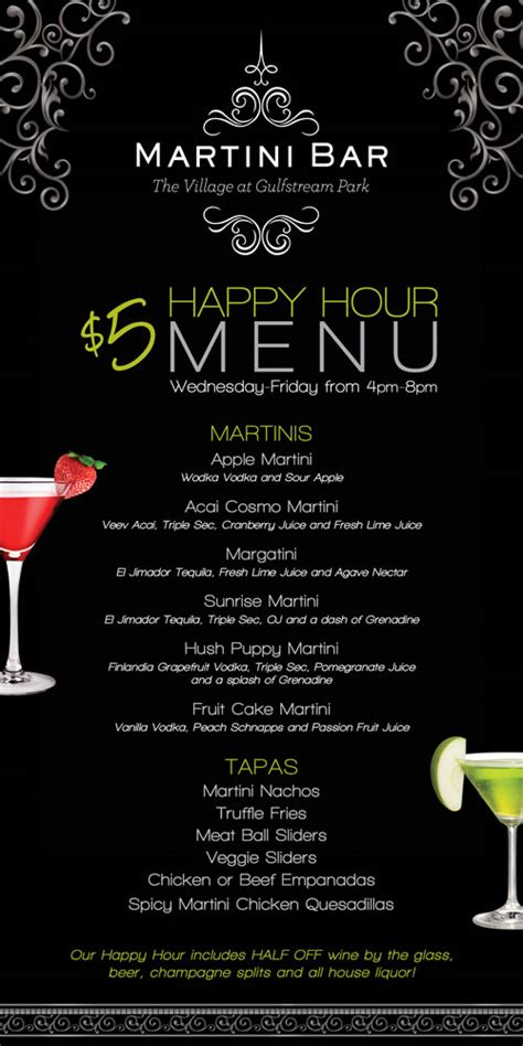 martini bar menu aventura events healthcare connect connect to your