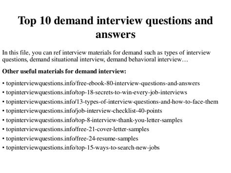Top 10 Demand Questions And Answers