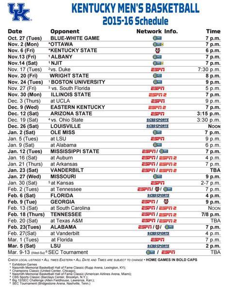Uk Basketball Schedule Google Calendar | kentucky wildcats basketball full 2015 16 schedule