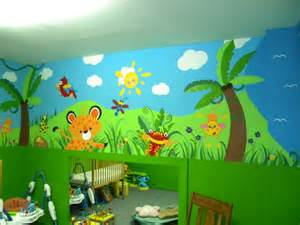 Daycare Wall Murals Daycare Jungle Mural Complete Wall 4 Daycare Pinterest