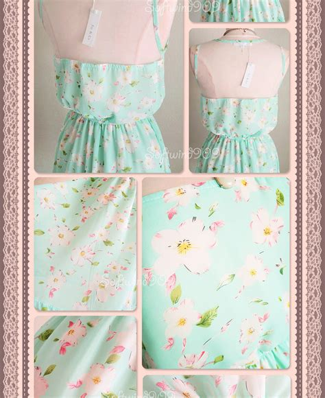 Dress Import 26027 White Floral Chiffon Dress new pastel mint pink white sheer mesh yoke dreamy floral print chiffon sun dress