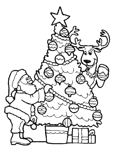 decorating  christmas tree coloring pages christmas