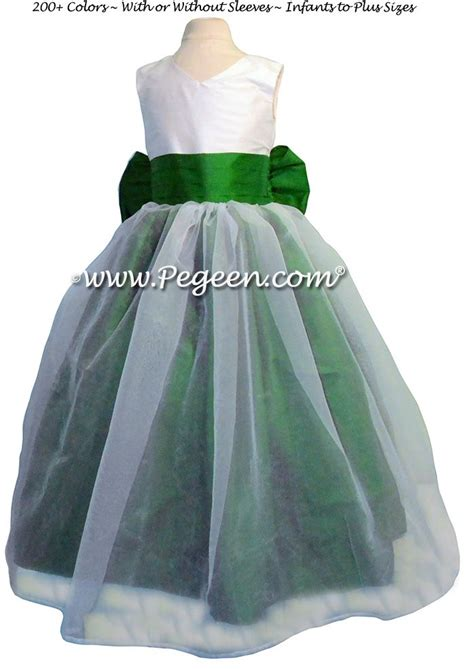 emerald green and antique white silk and organza flower