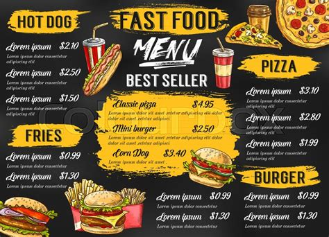 hot chips price list fast food menu template for fastfood restaurant or cafe