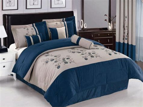 royal blue comforter set queen 7 pc embroidered spring flower comforter set bed in a bag