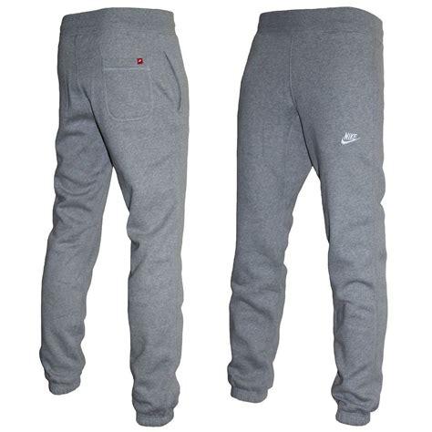 light grey nike sweatpants nike fleece jogger pants track bottoms cuffed stitched
