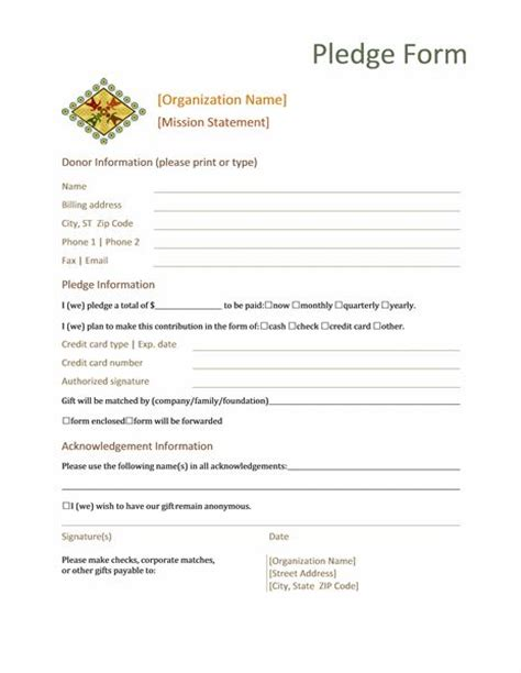 Sle Credit Card Donation Form Donation Pledge Form This Form Normally Contains Basic