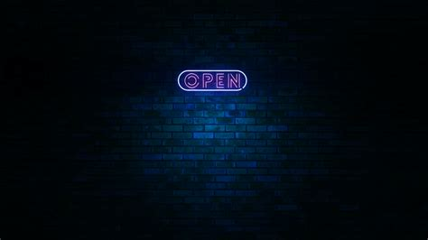 animation of neon sign with the word open at wall with