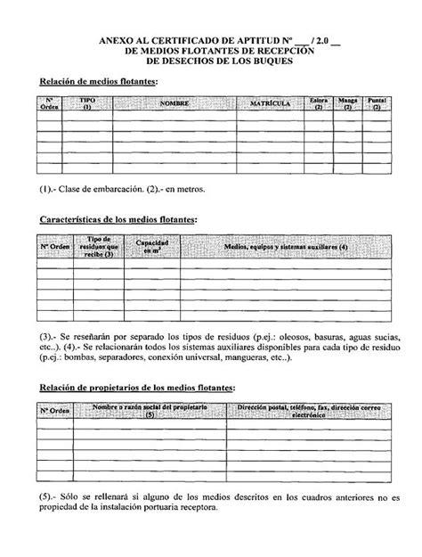 modelo de certificado de aptitud de medios flotantes de instalaciones real decreto 1381 2002 de 20 de diciembre sobre