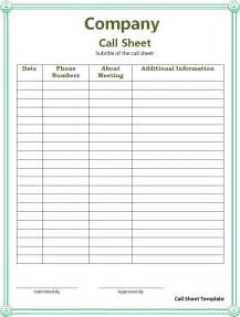 Call Sheet Template by Call Sheet Template Free Printable Word Templates
