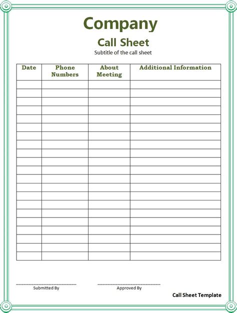call register template call sheet template free printable word templates