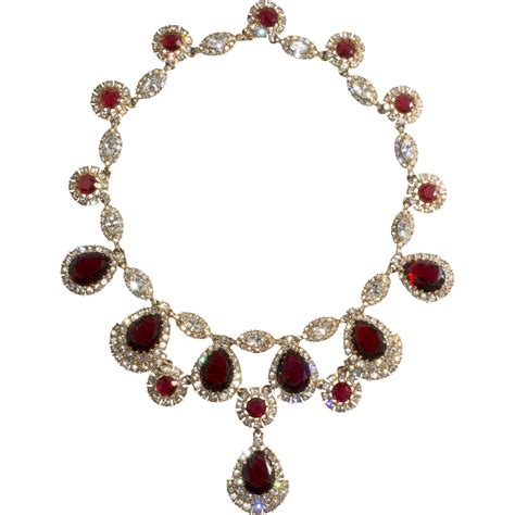 rhinestone necklace ciner clear rhinestone necklace vintage sold on ruby