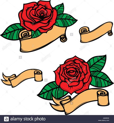 old style rose tattoo set of school style roses with ribbons isolated