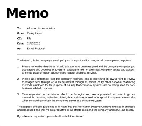 Memo Sle To Employees Email Memo Template 6 Free Word Pdf Documents Free Premium Templates