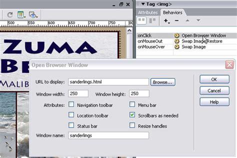 dreamweaver cs5 tutorial open browser window behavior using a behavior in dreamweaver to launch a new browser