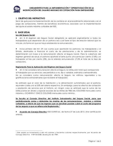 Calendario Isss 2015 Lineamientos Para Implementar Nuevo Techo Cotizaci 243 N Isss