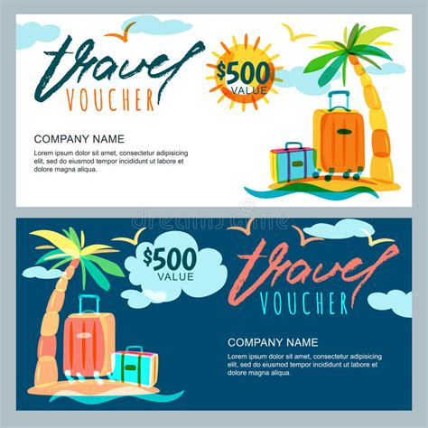 vacation card template vector gift travel voucher template tropical island