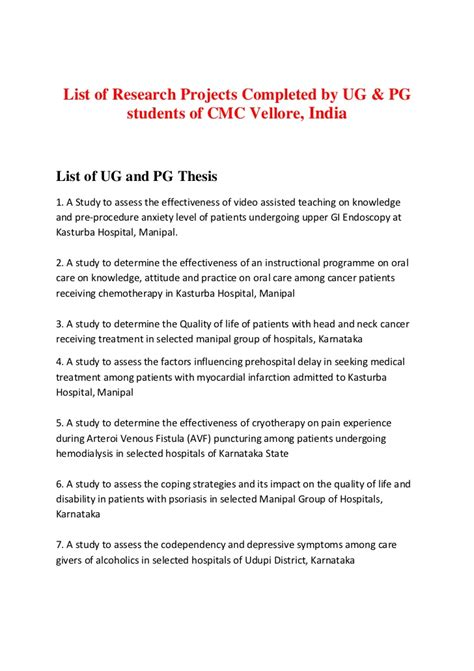 Resume Samples Youth by List Of Research Projects Cmc Vellore