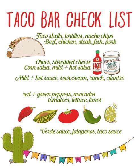 taco bar topping ideas taco bar party recipe free taco bar checklist