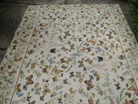 Needle Point Rug by Vintage Needlepoint Butterfly Rug At 1stdibs